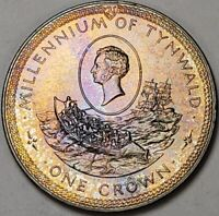 """1979 ISLE OF MAN SILVER ONE CROWN """"MILLENNIUM OF TYNWALD"""" COLOR TONED PROOF"""
