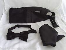 BLACK Polyester Bow Tie + Cummerbund and Hankie Set>P&P 2UK>1st Class>60 Colours