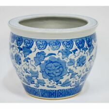 Vintage Chinese Hand Painted Porcelain Blue & White Planter Jardiniere Bowl
