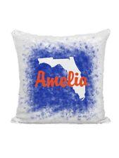 PERSONALIZED MERMAID SEQUIN FLIP PILLOW - FLORIDA SPLATTER BLUE & ORANGE