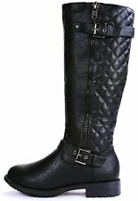 Quilted Buckle Riding Knee Zipper Boots #Pack-95