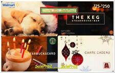 4x STARBUCKS THE KEG JEAN COUTU WALMART CHRISTMAS DOG COLLECTIBLE GIFT CARD LOT