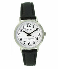 Ladies, Watch White Face Chrome Case & Black Strap & Easy Read Numbers by Azaza