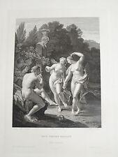 A.VAN DER WERFF 1659-1722 GRANDE GRAVURE FEMME NUE NYMPHE ECOLE HOLLANDAISE 1840