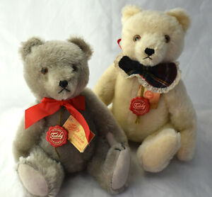 """Pair Hermann Mohair Teddy Bear Set  12"""" and 14"""" White Grey Germany Excellent"""
