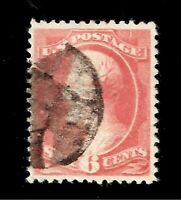 US 1882 Sc# 208 6 c BROWN RED LINCOLN USED Centered for Issue - Crisp Color