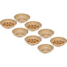 Set Of 8 Vintage Round Natural Bamboo Wicker Bread Basket Storage Hamper Trays