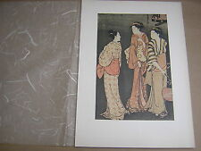 Kiyonaga. sera scena SHINAGAWA. 1780's RIPRODUZIONE STAMPA LEGNO giapponese