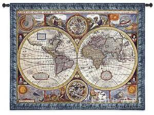 "ANTIQUE WORLD MAP TAPESTRY * Olde World Globe Countries New 45x37"" Wall Hanging"