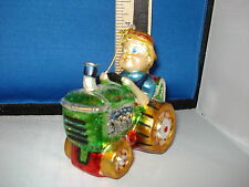 Farm Ornament Farmer on Tractor Blown Glass 42232 81