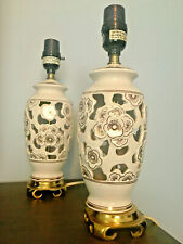 Pair of White Ivory Ceramic Portable Bedside Table Lamps