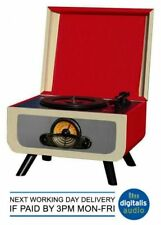 Record Player Steepletone Rico Red Cream 3 Speed , Hidden CD Player & Radio USB