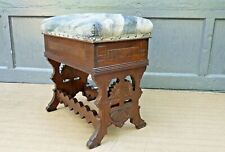 Antique 1880s Eastlake Walnut Lift Top Stool Footstool Sewing Bench w storage