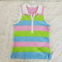 Lily Pulitzer sz M Womens Pink Green Blue Stripe Polo Tank Top