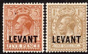 British Levant 1921 yellow-brown 5d bistre-brown 1/- mint SGL21/23