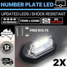 2x LED License NUMBER PLATE LIGHT TRUCK TRAILER VAN UTE CARAVAN 10-30V Chrome