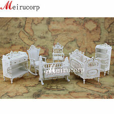 Fine 1:12 Scale Dollhouse Miniature Furniture Well Made White Baby's Room Set