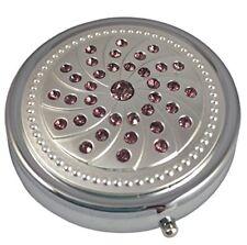 Purple Gemstones Three Section Pocket/Purse/Travel Medicine Small Pill Box Case