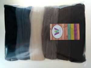 Animal set* Pure Wool Tops for felting 6 colours: Grey Brown Black, 60 grams