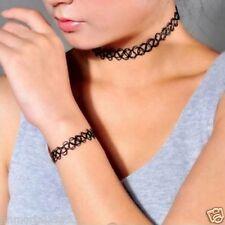 Sets 3 pièces Collier+Bracelet+Bague Élastique Tatouage Gothique Punk Mode
