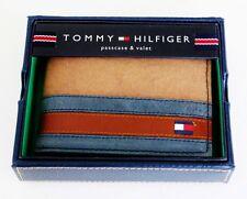 New Tommy Hilfiger Khaki Passcase Men's Leather Fabric Bifold Wallet 4896/13