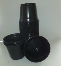 "6 inch Round Black Plastic Pots - SET OF 50 - (6"" x 4.4"")  flower pot Nursery"