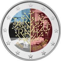 2 Euro Gedenkmünze Estland 2020 coloriert / m Farbe Farbmünze Frieden Tartu