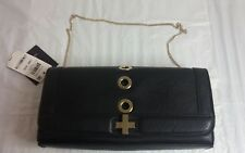 International Concepts Korra Gold Toned Grommet Clutch- Black
