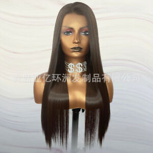 24inch Synthetic hair Lace front wigs Long Straight Dark brown Full Head