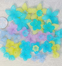 50 pcs Turquoise Lime Blue Frosted Flower Beads Mix 7-25mm Lucite .. FREE SHIP