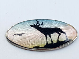 Vintage guilloche Enamel Stag figure silver loose plaque to make jewellery.