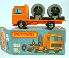 Matchbox SF nº 26d volvo cable Truck Orange rare roja BPL. 5 spoke ruedas Top