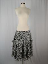 NWT Lauren Ralph Lauren Size 12 Silk Tiered Black White Floral Skirt NEW