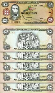 JAMAICA 2 DOLLARS 1992, UNC, 5 PCS LOT, CONSECUTIVE, P-69d