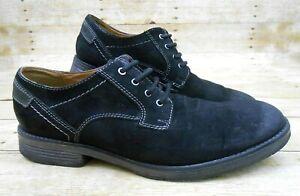 CLARKS Devington Walk Oxford Shoes Men's Sz 12 Black Goat Suede Leather 26119671