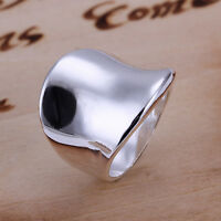 925 Sterling Silver Plated Plain Band Ring Size 8 B7