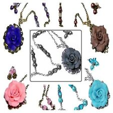 Necklace and earrings set Rose and pearl, choose color and fittings