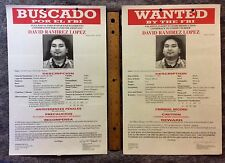 2-FBI LARGE WANTED POSTERs SPANISH & ENGLISH AttEMPT MURDER  DAVID LOPEZ #7642