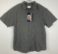 Hang Ten Short Sleeve Button Up Woven Shirt Smoke Pearl Mens L Large NWT