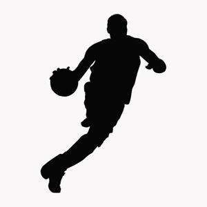 Basketball Player Dribbling Ball Silhouette Wall Decal Sticker Vinyl Home Decor