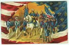 Washington Taking Command of the Army c1910 Embossed Patriotic Postcard