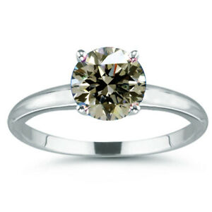 3.10 Ct Vvs1-;Round Brown White Moissanite Diamond Solitaire 925 Silver Ring