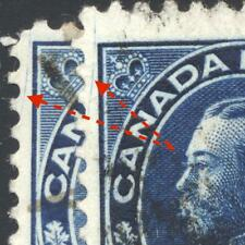 Constant Scratch in UL on Used 5¢ Blue Admiral #111 - 2 copies