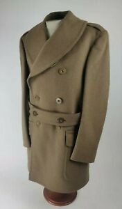 WWII WW2 US Army Cavalry Heavy Wool Trench Coat Overcoat Dated 1942 Named Maj