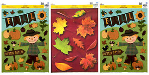 Lot of 3 Harvest Window Clings Fall Autumn Thanksgiving Leaves Pumpkins and More