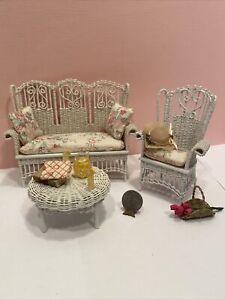 Vintage Artisan MCCURLY Wicker Sofa & Chair Set Dollhouse Miniature 1:12