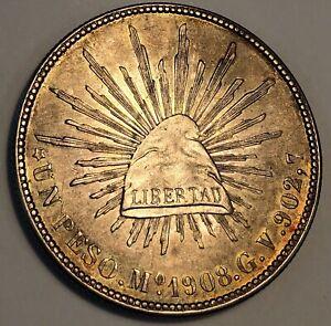 Mexico Peso 1908 G V Mo. KM# 409.2.