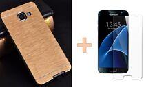 Custodia Rigida Alluminio Oro oro+Pellicola Vetro Temprato HD Samsung Galaxy A3