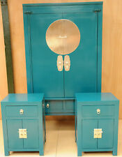 Saigon Oriental Package Deal Wardrobe & Pair of Bedside Tables Solid Wood Teal