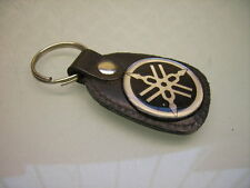 "Porte Clé Cuir Clé de Contact Logo ""yamaha"" badge Key Fob Leather"